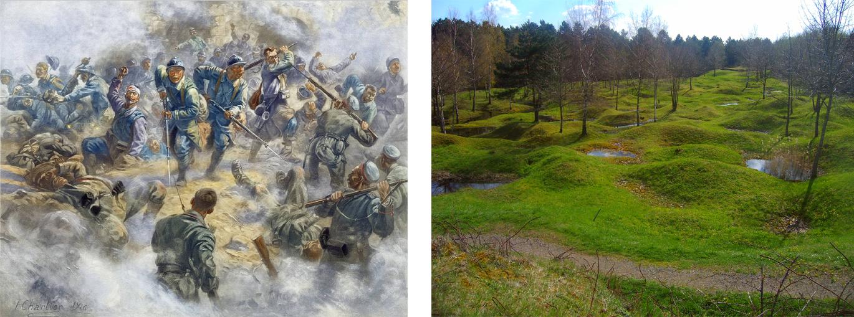 Schlachtfeld von Verdun im Ersten Weltkrieg und 2005